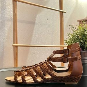 Zara Brown Sandals with Ankles Buckles